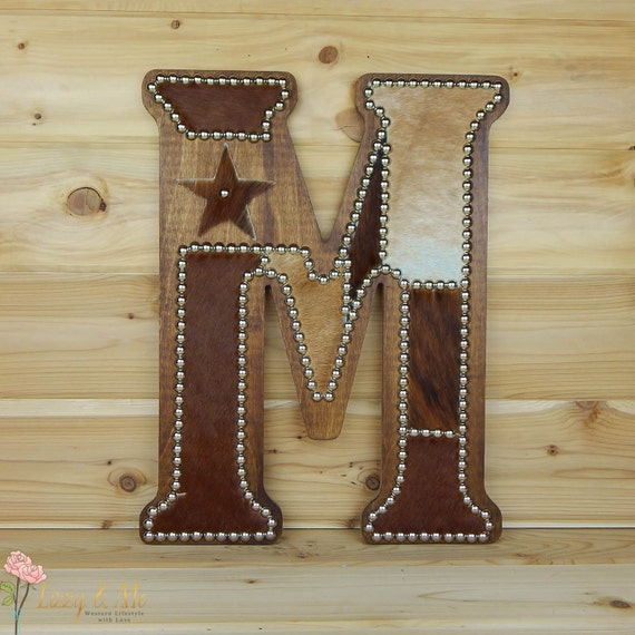 Cowhide Wall Letter M Western Home Decor Wall Hanging