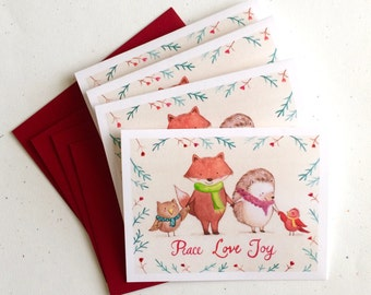 Woodland Friends Christmas Card - set of 4 cards by Megumi Lemons