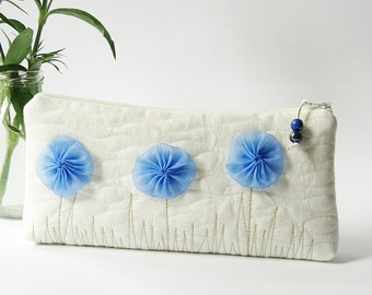 Ivory Wedding Clutch, Bridal Clutch with Blue Flowers, Beach Wedding Gift for Bridesmaid, Something Blue Purse