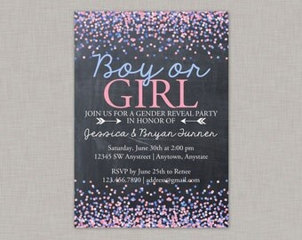 Gender Reveal Invitation, Chalkboard Gender Reveal Invitation, Confetti, Glitter