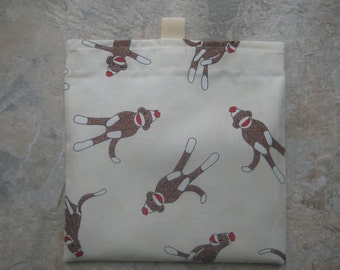 Sock Monkey - Reusable Sandwich/Snack Bag with easy open tabs