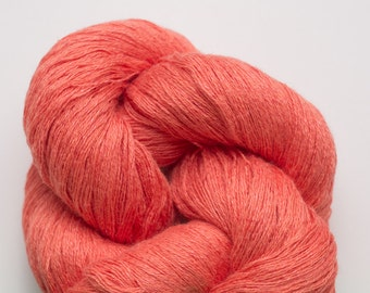 Salmon Linen Blend Recycled Lace Weight Recycled Yarn, LBL00177