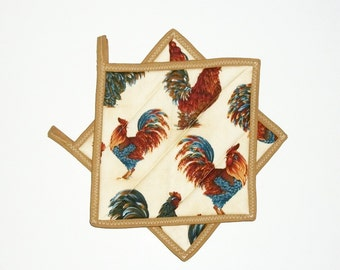 Pot Holders Chickens Roosters Quilted Primitive Country Decor Set of 2