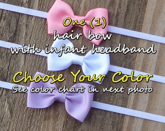 You CHOOSE the Color~Infant Headband Sets~Newborn Headbands~Newborn Hair Bows~Small Boutique Bows~Pink Hair Bow~Hair Bow Gift Sets~Hair Bows