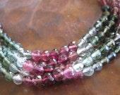 Faceted Tourmaline Round Bead Strand Pink Green Natural Gemstones Destash Jewelry Supplies Nice Gem Quality