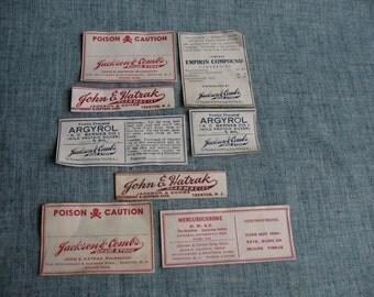 8 Vintage Pharmacy Drugstore Bottle Labels Trenton, New Jersey