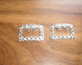 vintage pair shoe boot clips silvertone