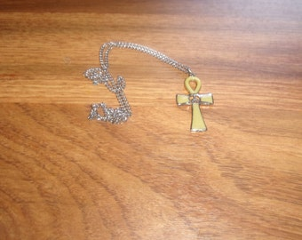 vintage necklace silvertone enamel ankh peace