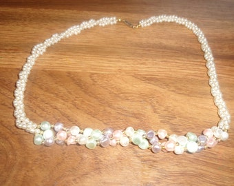 vintage necklace colorful braided faux pearls
