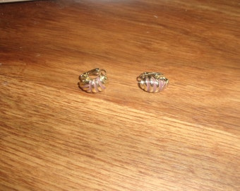 vintage clip on earrings goldtone pink enamel