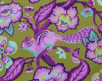 Tula Pink Fabric, Chipper in Raspberry, Chipmunk Fabric, Free Spirit, By the Yard