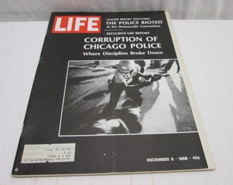 Life Magazine December 1968, Chicago Police Riots, Camaro Corvette, Col. Sanders KFC, Harlem  vintage advertising