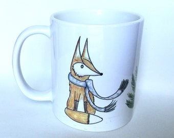 Fox Mug - For Fox Sake - Fox Art - Fantastic Mr. Fox - Coffee Mugs - Cute Fox - Fox Decor - fall mug - fall decor - fox mug - pine