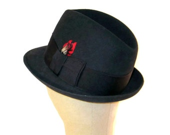 60s Knox Premier Hat Black Stingy Brim Hat Mens Hat Fedora 1950s Hat Made in Canada Black Fur Felt Fedora Fedora with Feather Black Fedora