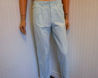 "80s 29"" x 30"" Cotton Narrow Leg Mens PANTS Rough Trade Aqua Blue Green"