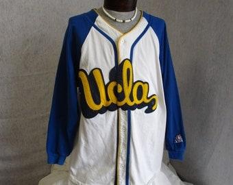 80s Lg UCLA Button Up Baseball Jersey ACA