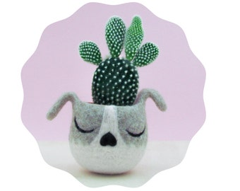Succulent planter / puppy planter / dog head planter / cactus planter / puppy vase / gift for her / Dog lover gift
