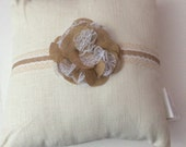Burlap and lace rustic nursery pillow
