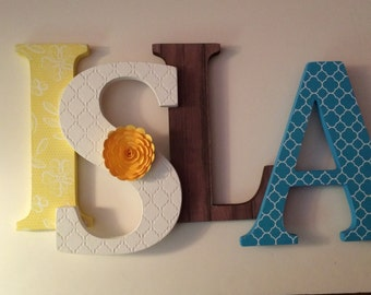 Wooden  letters for nursery in rustic wood and lace.