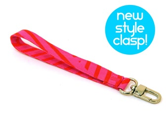 Key Chain - Wrist Strap - Hot Pink Wrist Lanyard - Gift for Girls - Teen Birthday Gift - Fabric Wristlet Purse Strap - Ready to Ship
