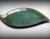 Large Ceramic Handmade Leaf Platter in Shades of Green/Ceramics and Pottery