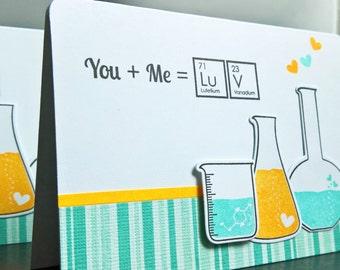 I Love You Card, Geeky Anniversary Card, Geek Card, Science Beaker Card, Chemistry Card
