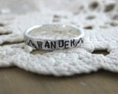WANDER with Mountains Stamped Ring //Rustic//Hand Stamped // Custom Size //  Fine Silver // Recycled Silver // Eco Friendly // Stacking Ring