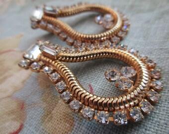 vintage rhinestone earrings -gold, goldtone, clip on