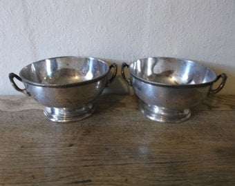 Pair Antique English Silver Plated Serving Compote Bowls with Handles