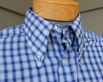 vintage 1970's -K-Mart- Men's long sleeve shirt. BIG Button-down collar. Blue & White grid plaid. Worn to perfection. Large 16