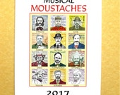 2017 music calendar MOUSTACHES of CLASSICAL COMPOSERS