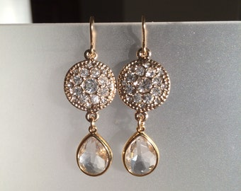 Ornate Clear Crystal, Crystal Quartz, and Gold Earrings