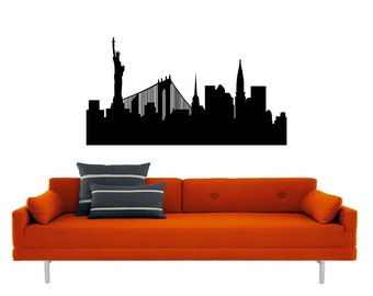 New York Skyline vinyl Wall DECAL- Statue of Liberty, urban city interior design, sticker art, room, home and business decor