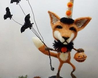 """Halloween Fox Pup needle felted wool size 13-1/2"""" tall vintage jello mold - Ferdinand"""