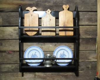 Black Horse Tavern Hanging Plate Rack, Primitive Early American Pewter Display Shelf