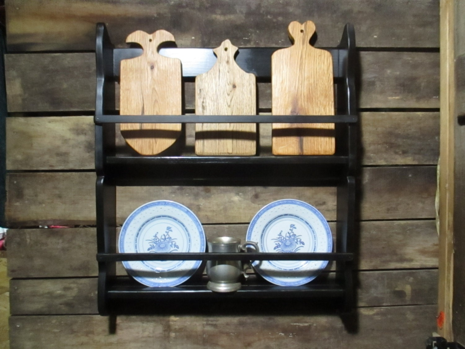 Black Horse Tavern Hanging Plate Rack Primitive Early