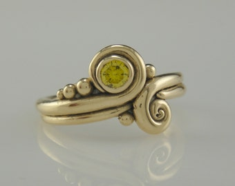 R964- 14k Yellow Gold Yellow Diamond Ring- One of a Kind