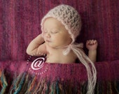 Luxury Baby Girl Bonnet in Pink Blue Cafe Latte Tan White Lavender Mohair Silk Bonnet Hat Photo Prop Heirloom Gift