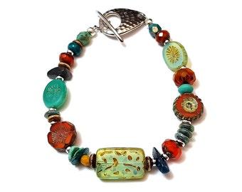 Czech glass boho beaded Southwestern bracelet with hammered toggle clasp - boho bracelet - bohemian jewelry - strong magnetic bracelet