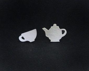 TeaPot Earrings - Teacup Earrings - Sterling Silver Tea Jewelry - Tea Earrings - Alice in Wonderland Earrings - Tea Party Gifts