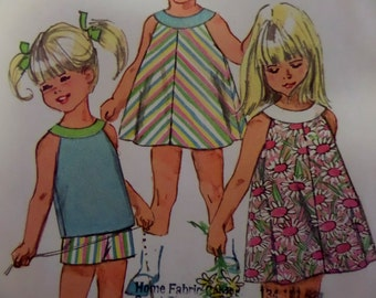 """1967 Yoked A-Line Dress or Top & Shorts Pattern Simplicity 7043 Child's 2 Breast 21"""". Cute SUMMER DRESS PATTERN and More at WhiletheCatNaps"""