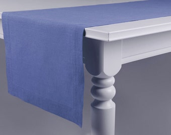 Serenity blue table runner Handmade linen table runners