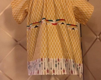 Girls Tunic Peasant Top:  Yellow scales, arrows and aztec mixed print tunic, organic cotton