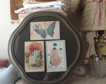 Vintage Antique Postcards Framed - Clover Frame - Shabby Chippy Chic Cottage