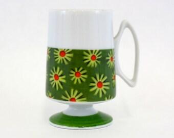 Vintage Pacesetter Green Mod Floral Pedestal Mug (E6171)