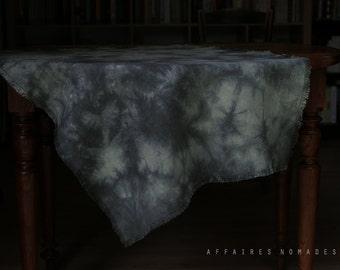 Boho throw.  tablecloth throw for couch linen throw blanket table linen blue hand dyed wabi sabi decor bohemian decor