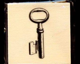 Antique Key Stamp VINTAGE Skeleton Keys Shape Wood Mounted Rubber Scrapbooking Craft crafts Christmas card envelopes holiday cards stamping