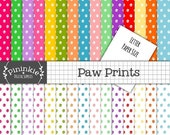 50% OFF SALE Letter Size Paw Print Digital Paper Pack, Animal Print Scrapbooking Paper, Instant Download,  Commercial Use, 8.5 x 11, Dog Pri