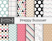 Summer Preppy Digital Paper, Commercial Use, Scrapbook Papers, Background, Instant Download