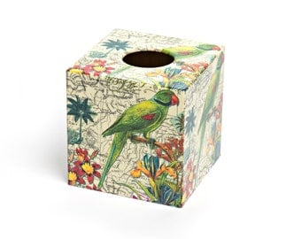Parrot Tissue Box Cover wooden handmade in Uk